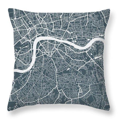 Art Throw Pillow featuring the digital art London City Map by Mattjeacock