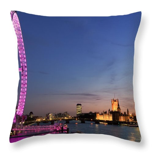 City Throw Pillow featuring the photograph London Eye by Rod McLean