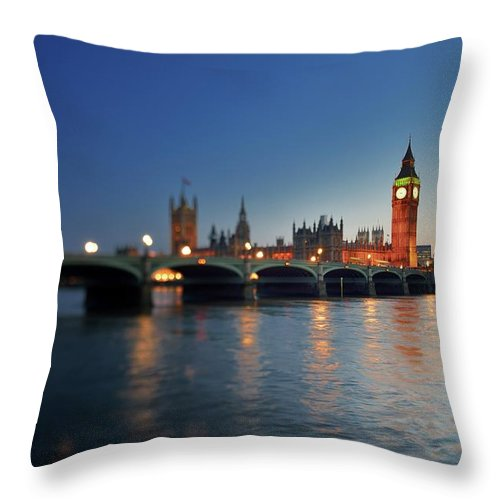 Tranquility Throw Pillow featuring the photograph London, Palace Of Westminster At Sunset by Vladimir Zakharov