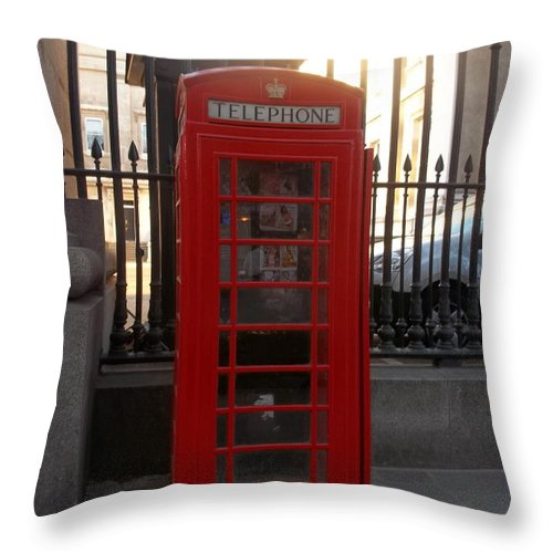 London Throw Pillow featuring the photograph London Phone Booth by James Potts