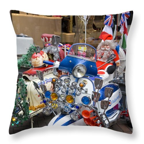 Mods And Rockers Throw Pillow featuring the photograph London Scooters by Martin Berry