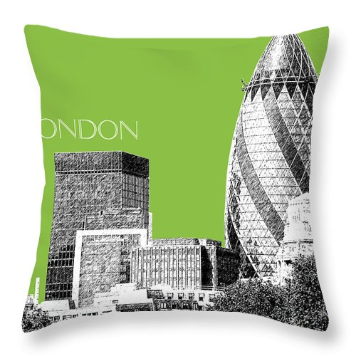 Architecture Throw Pillow featuring the digital art London Skyline The Gherkin Building - Olive by DB Artist