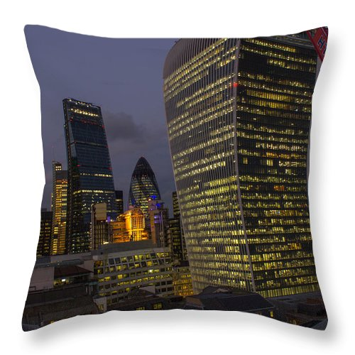 Landscape Throw Pillow featuring the photograph London Skyline Through A Fence by V C Yang