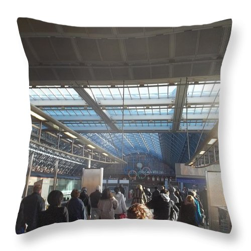 London Throw Pillow featuring the photograph London Train Station by James Potts