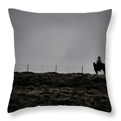 Dawn Throw Pillow featuring the photograph Lone Cowboy by Donna Greene