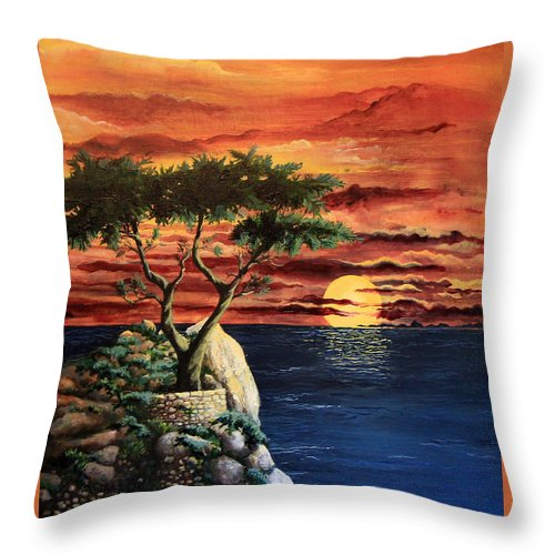 Landscape Painting Throw Pillow featuring the painting Lone Cypress by Mary Palmer