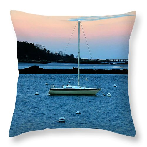 Denyse Duhaime Photography Throw Pillow featuring the photograph Lone Sailboat At York Maine by Denyse Duhaime
