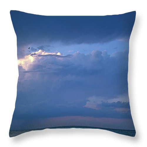 Panoramic Throw Pillow featuring the photograph Lone Thunderstorm On Lake Erie by John Harmon