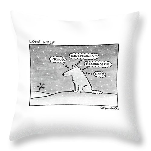 (lone Wolf: Title. A Wolf Sits In The Snow Throw Pillow featuring the drawing Lone Wolf: by Charles Barsotti