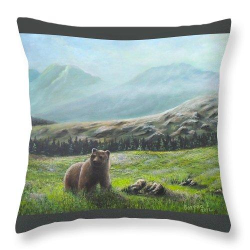 Bear Throw Pillow featuring the painting Lonely Bear by Bozena Zajaczkowska