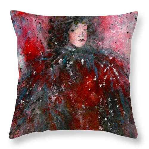 Millionairess Throw Pillow featuring the painting Lonely Millionairess by Natalie Holland