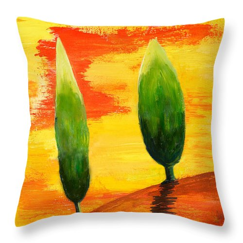 Abstract Throw Pillow featuring the painting Lonely Planet by Nirdesha Munasinghe