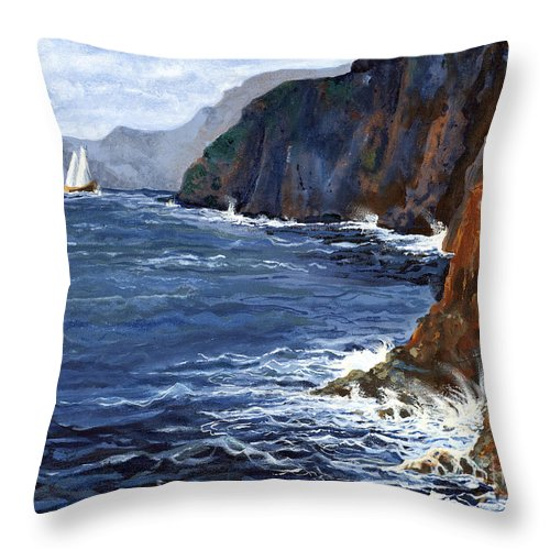 Landscape Throw Pillow featuring the painting Lonely Schooner by Mary Palmer