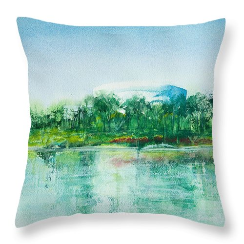 Watercolor Throw Pillow featuring the painting Long Beach Convention Center Arena by Debbie Lewis
