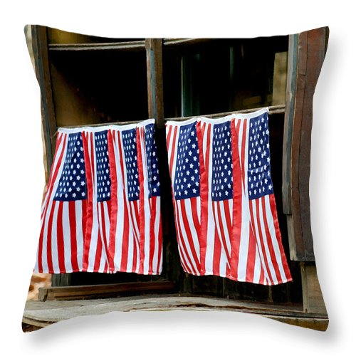 Flag Throw Pillow featuring the photograph Long May It Wave by Art Block Collections