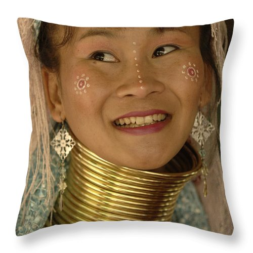 Long Necks Throw Pillow featuring the photograph Long Necked Woman 2 by Bob Christopher