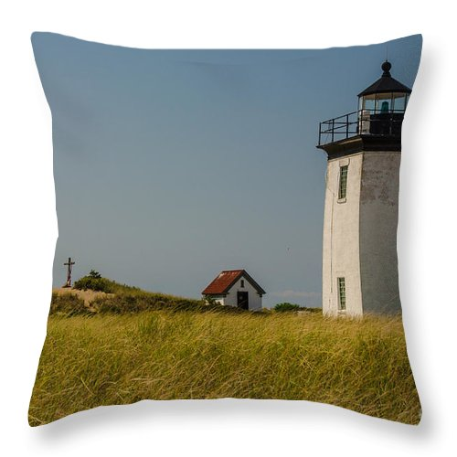 Long Point Throw Pillow featuring the photograph Long Point Lighthouse by Pat Lucas