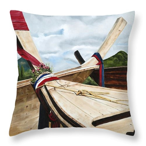 Art Throw Pillow featuring the painting Long Tail Boats Of Krabi by Mary Rogers