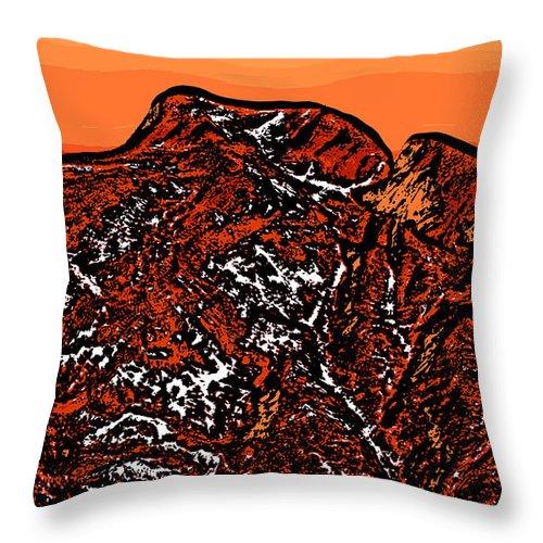 Sunset Throw Pillow featuring the digital art Longs Peak - Colorado by David G Paul