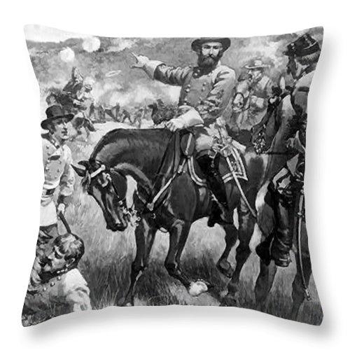 Longstreet At Gettysburg Throw Pillow featuring the digital art Longstreet At Gettysburg by Henry Alexander Ogden