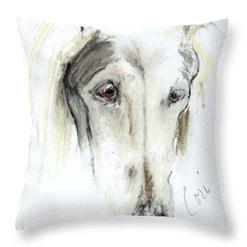 Saluki Throw Pillow featuring the drawing Loni by Cori Solomon