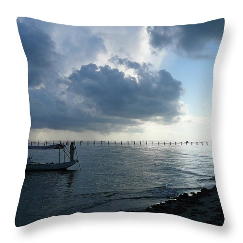 Louisiana Throw Pillow featuring the photograph Lonley Fisherman by Andrew Fleming