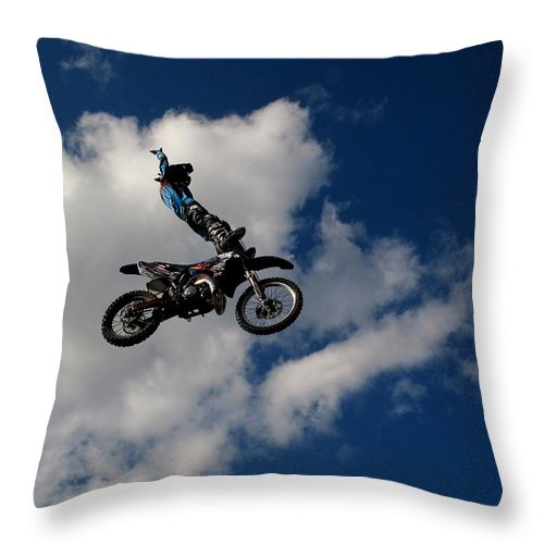Motorcycle Throw Pillow featuring the photograph Look Ma No Hands by Donnie Freeman