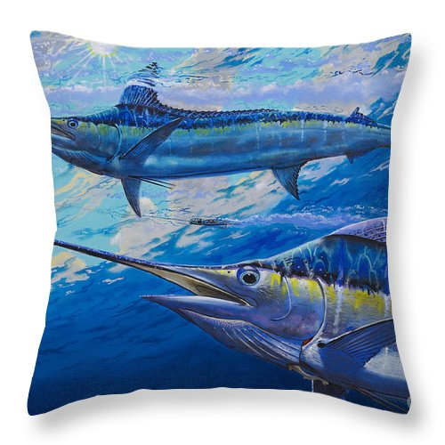 Marlin Throw Pillow featuring the painting Lookers Off0019 by Carey Chen