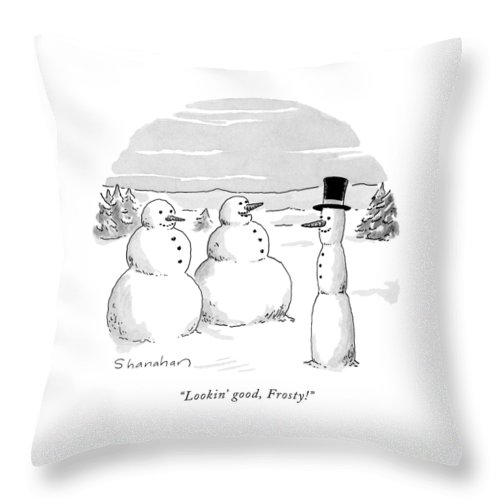 Holidays Throw Pillow featuring the drawing Lookin' Good by Danny Shanahan
