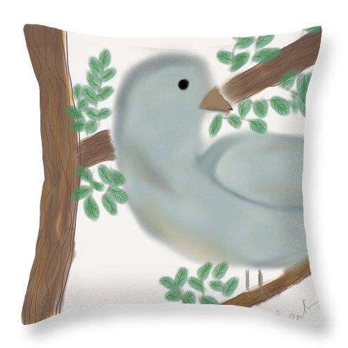 Blue Throw Pillow featuring the digital art Looking Bird by Barbara Marlin