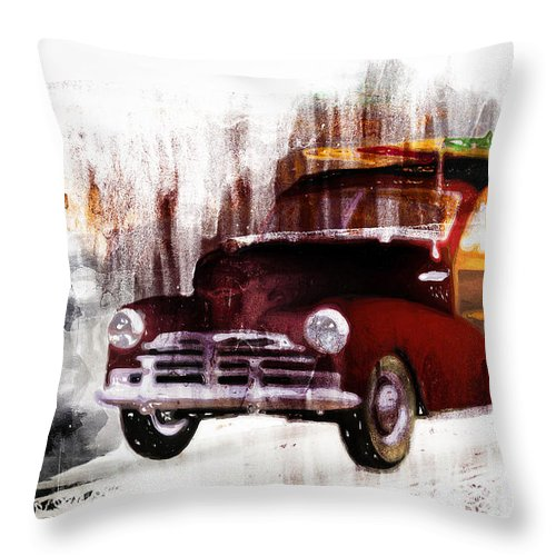 Woody Throw Pillow featuring the painting Looking For Surf City by Bob Orsillo
