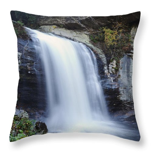 Looking Glass Throw Pillow featuring the photograph Looking Glass Falls - Brevard North Carolina - North Carolina Waterfalls Series by Matt Plyler