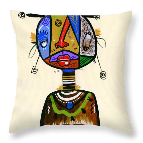 Contemporary Throw Pillow featuring the painting Looking Good Like My Maid by Oglafa Ebitari Perrin