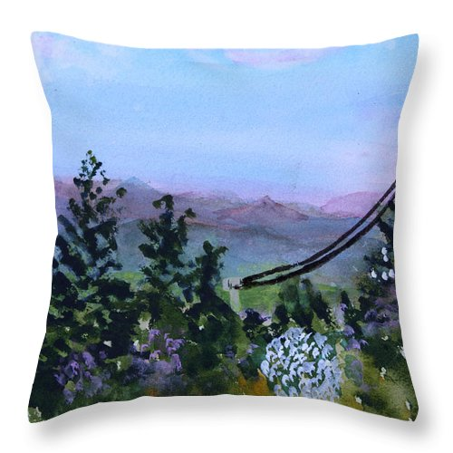 Mountain Throw Pillow featuring the painting Looking Out From Top Of Jay Peak by Donna Walsh
