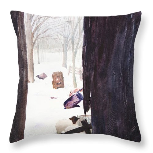 Landscape Throw Pillow featuring the painting Looking Out Looking In by Rachel Christine Nowicki