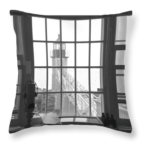 Maine Throw Pillow featuring the photograph Looking Out by Mike McGlothlen
