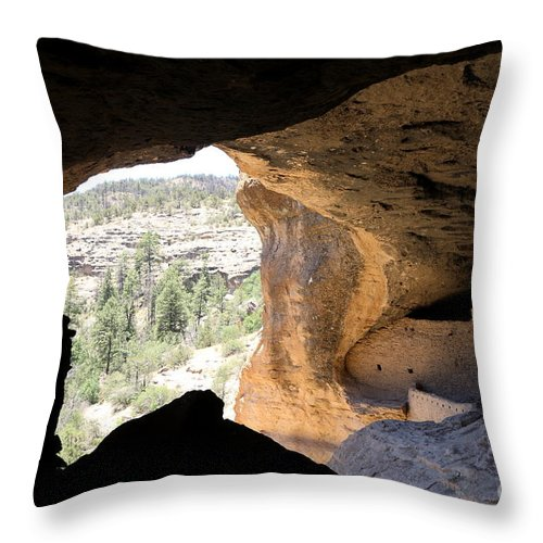 Cliff Throw Pillow featuring the photograph Looking Out Of A Cave Of Gila Dwellings by Christiane Schulze Art And Photography