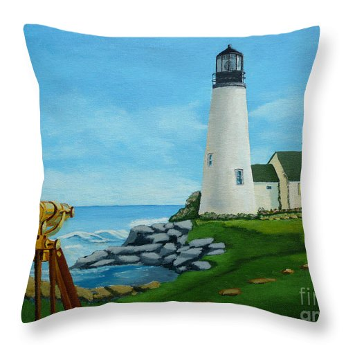 Lighthouse Throw Pillow featuring the painting Looking Out To Sea by Anthony Dunphy