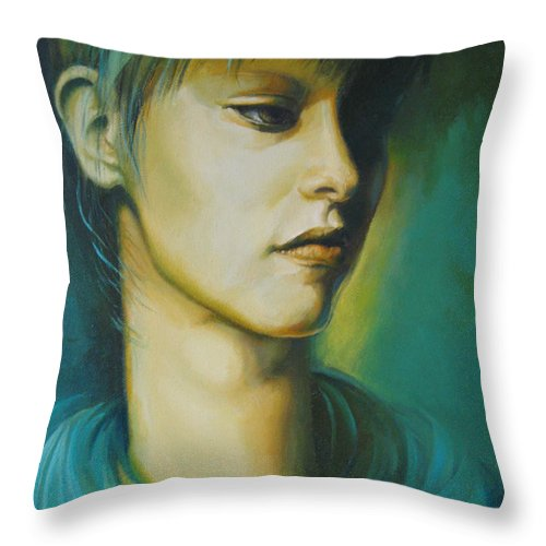 Portrait Throw Pillow featuring the painting Looking To Nowhere by Elena Oleniuc