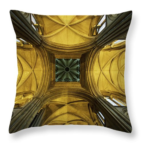 Arch Throw Pillow featuring the photograph Looking Up At A Cathedral Ceiling by James Ingham / Design Pics