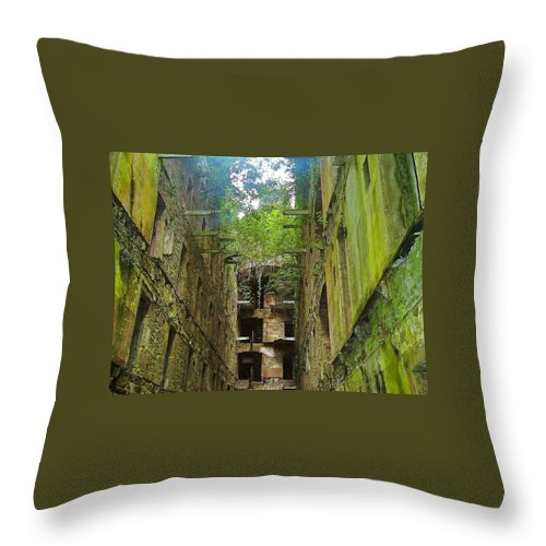 Jail Throw Pillow featuring the photograph Looking Up Bodmin Jail by Lisa Byrne