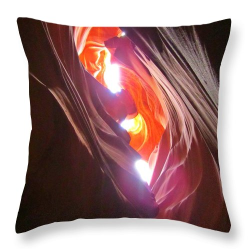 Beautiful Canyons Throw Pillow featuring the photograph Looking Up In Antelope Canyon by John Malone