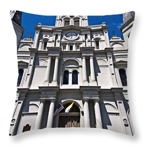 St. Louis Cathedral Throw Pillow featuring the photograph Looking Up St Louis Cathedral by Andy Crawford