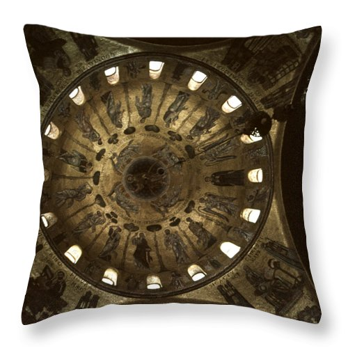 Saint Mark's Throw Pillow featuring the photograph Looking Up St Mark's 2 by David Hohmann