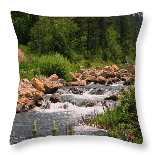 Water Fall Prints Throw Pillow featuring the photograph Looking Up The Rapids by John Malone