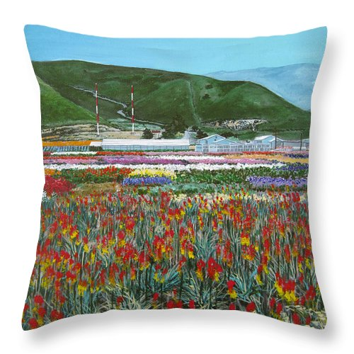 Flowers Throw Pillow featuring the painting Lookout Point by Angie Hamlin