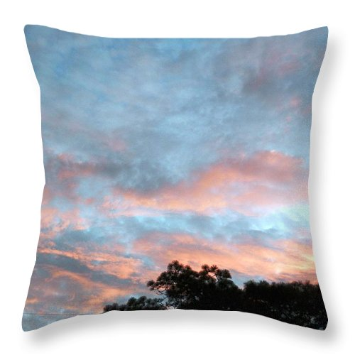 Not! Fluffy Pink And White Morning Clouds Against Blue Sky In The Early Morning Down In Sunny Throw Pillow featuring the photograph Looks Like And Oil Painted Sky by Belinda Lee