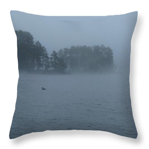 Loon Throw Pillow featuring the photograph Loon At Dawn by Hans Brakob