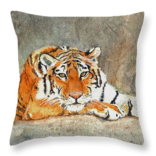 Bengal Tiger Throw Pillow featuring the painting Lord Of The Jungle by Marlene Schwartz Massey