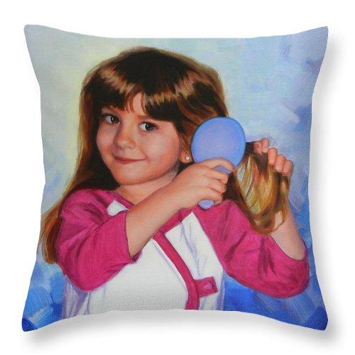 Ningning Throw Pillow featuring the painting Lorena by Ningning Li